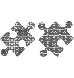 two puzzle pieces stencil vector image
