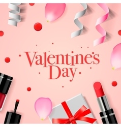 Valentines Day card with gift box and cosmetics vector image
