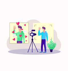 video blogging live telecast concept vector image