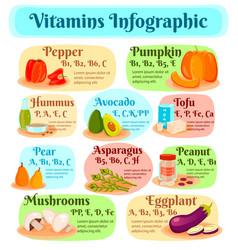 Vitamins in vegetarian food infographics vector