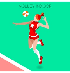 Volleyball Indoor 2016 Summer Games 3D Isometric vector image