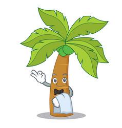 Waiter palm tree character cartoon vector