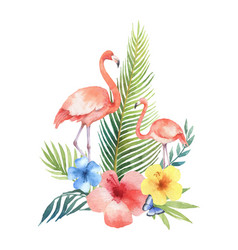 watercolor card of tropical leaves flowers vector image