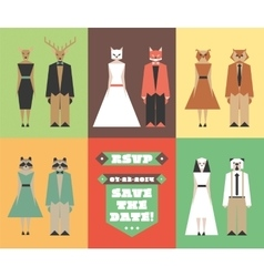 Wedding invitation figures with animal heads vector image