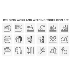 Welding work and tools icon set design vector