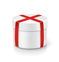white round box isolated with red ribbon vector image