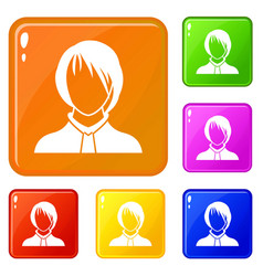 Woman icons set color vector