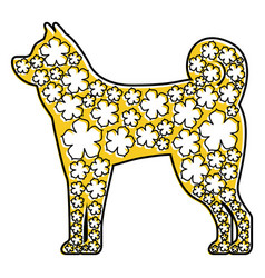zodiac with flowers sign for year of dog chinese vector image