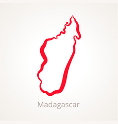 outline map of madagascar marked with red line vector image