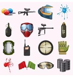 Paintball icons set cartoon style vector