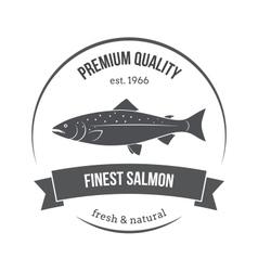 salmon silhouette salmon label vector image