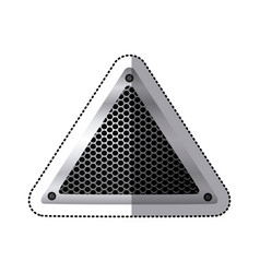 sticker triangular metallic frame with grill vector image vector image