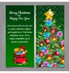 Two vertical cards with Christmas tree and gift vector image vector image