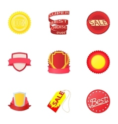 Types tag icons set cartoon style vector image vector image