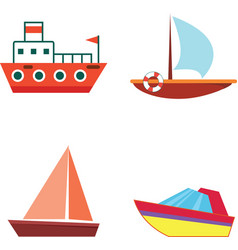 cartoon boats and ships - isolated flat set vector image vector image