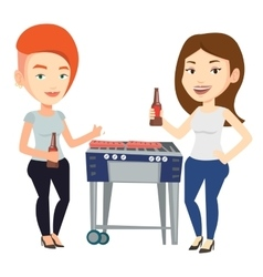 Caucasian friends having fun at barbecue party vector image vector image