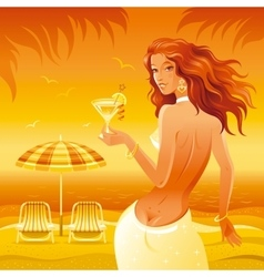 Evening beach background with beautiful girl and vector image vector image