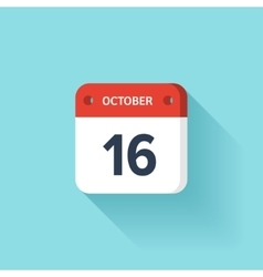 October 16 Isometric Calendar Icon With Shadow vector image vector image