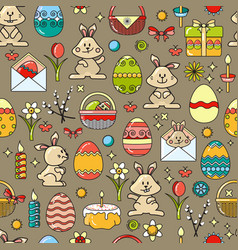 seamless pattern with easter icon on taup vector image