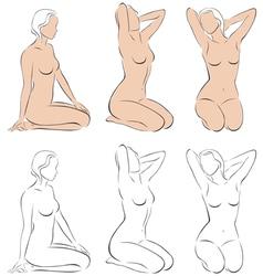 Stylized figures of nude women vector