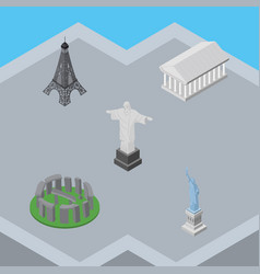 isometric cities set of rio new york paris and vector image vector image