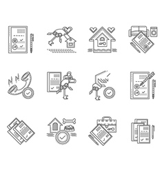 Linear icons for rent of house vector image vector image