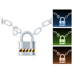 metal chain and padlock isolated on white vector image vector image