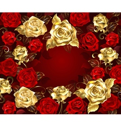 Red and Gold Roses vector image vector image