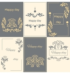 Set floral arabesque ornament greeting card vector image vector image