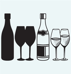Wineglasses and bottles vector