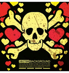 Abstract skull and hearts - grunge background vector image