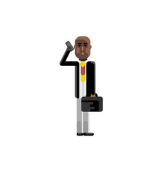african man with suitcase talking on phone vector image vector image