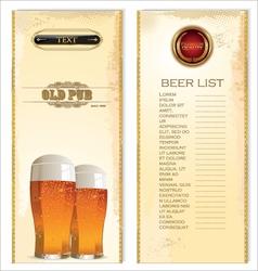 Beer list vector image vector image