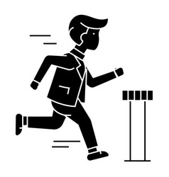 businessman running to finish icon vector image
