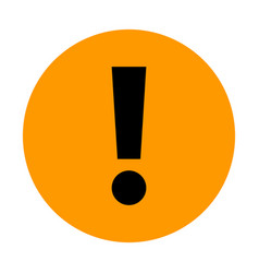 Orange circle exclamation mark icon warning sign vector