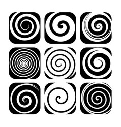 set of spiral motion elements black isolated vector image vector image