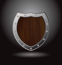 wood shield blank vector image vector image