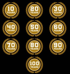 10 100 anniversary laurel wreath icon6 vector
