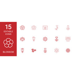 15 blossom icons vector