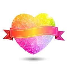 Abstract geometric colorful heart shaped valentine vector image