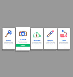 adventure onboarding elements icons set vector image