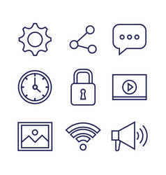 applications web icons set media items vector image