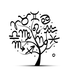 Art tree with zodiac signs for your design vector image