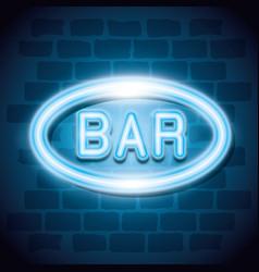 bar neon label icon vector image