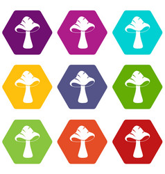 big mushroom icon set color hexahedron vector image