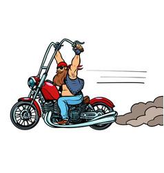 Biker on chopper motorcycle transport vector