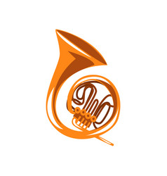 Brass french horn classical music wind instrument vector