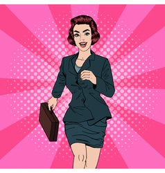 Business Woman Pop Art Banner Successful Woman vector
