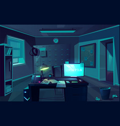 cabinet of private detective at night vector image