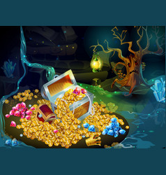 Cartoon game treasure and trophies background vector